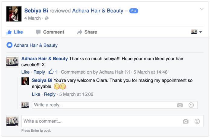 Adhara Hair Salon Reviews Sebiya